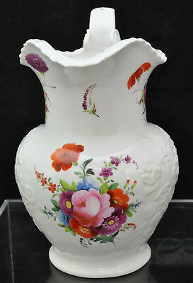 Large Staffordshire Riley Painted and Embossed Floral Jug Pitcher circa 1825