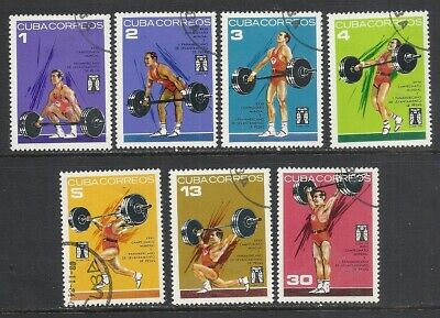 6Cuba  Sc# 1827-1833  WEIGHTLIFTING weight lifting  SPORT Cpl set of 7 used 1973