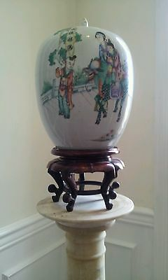 Early Ca. 19th Century Chinese Repuplic Temple Vase Hand painted Enamel