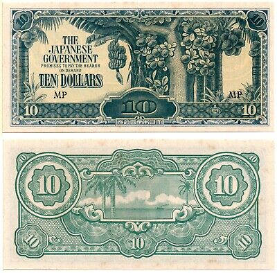 MALAYA 10 Dollars (Japanese WWII Occupation) 1942, P-M7c, AU-UNC
