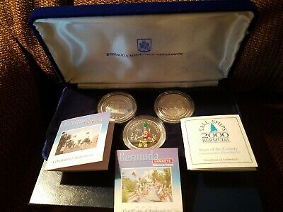 3 RARE Bermuda Silver Proofs Gombeys Tall Ships State House COA Case LOW MINTAGE