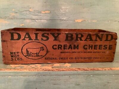 Vintage Wood Daisy Brand Cream Cheese Cow 3 Lb National Cheese Co