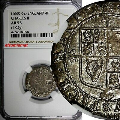 """Great Britain Charles II Silver (1660-62) 4 Pence """"Groat"""" NGC AU55 Toned KM# 290"""