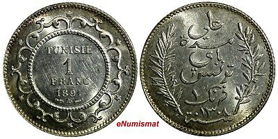Tunisia Ali Bey Silver 1308 (1891) A 1 Franc UNC Light Toning KM# 224
