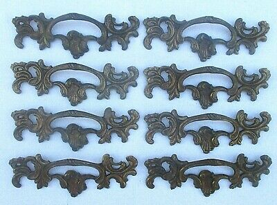 Beautiful Vintage French Provincial Brass Drawer Pull Handle Lot Of 8 Pulls