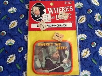"""Vintage Wendy's Restaurant 1984 """"Where's The Beef"""" Iron On Patch"""