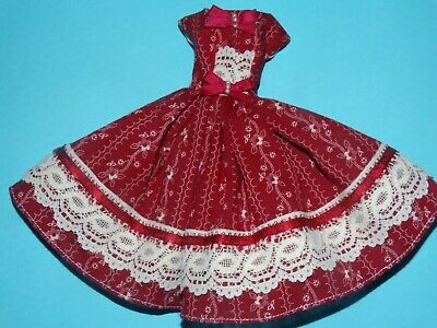Burgundy Country Dress For Barbie Vintage Doll Reproduction Repro, ooak, new