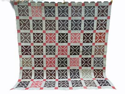 Antique Quilt Early Calico Fabrics WILD GOOSE CHASE Pattern Pinks Browns AAFA