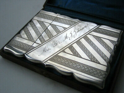Antique Gorham Sterling Silver Card Case w/Chicago Fire Provenance 1872 Gorgeous