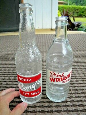 Vintage BATON ROUGE Acl Soda Bottles - BARQ'S & WRIGHT ROOT BEER
