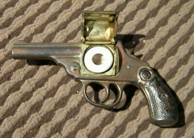 RARE Vintage EARLY 1900's Pistol Revolver Shaped INKWELL - INK BOTTLE