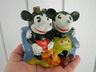 1930's WALT E DISNEY Pie Eyed Mickey & Minnie Mouse BISQUE TOOTHBRUSH HOLDER