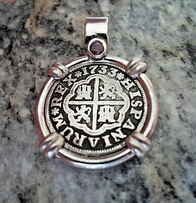 Genuine 1733 1 Reales Silver Spanish Treasure Cob Coin Sterling And Ruby Jewelry