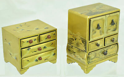 Exquisite Pair of Miniature Japanese Hina Doll Chest of Drawers