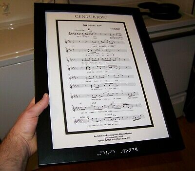 Framed SUPERSTITION Sheet Music Art Print CENTURION STEVIE WONDER 2016 NEW YORK