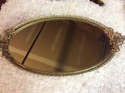"Vintage Signed MATSON Gold Gilt Oval Mirror Vanity Tray 19"" x 10"