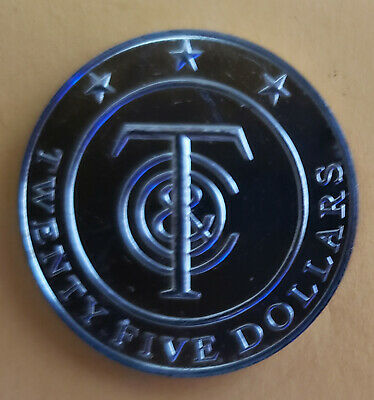 """Tiffany & Co. Money~$25 Dollar Coin """"Redeemable in Merchandise"""" ~Sterling Silver"""