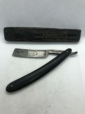 Antique George Wostenholm & Son Original Pipe Straight Razor Sheffield Etched