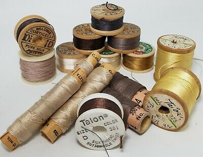 Lot of 16 Vintage Thread Spools Coats & Clark Silk TwistFinish Belding Talon
