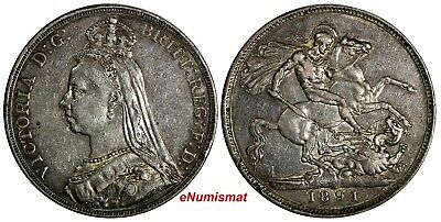 Great Britain Victoria Silver 1891 Crown Mintage-566,000 38.61mm XF  KM# 765