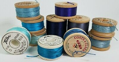Lot 11 Vintage Silk Thread Spools Blue - Coats & Clark Belding Corticelli Talon