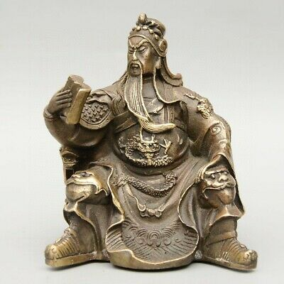 Collectable Old Bronze Hand-Carved Guan Yu Look Book Delicate Decorate Statue