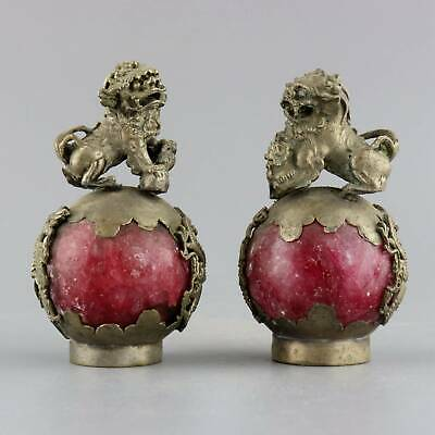 Collect China Old Miao Silver Armoured Agate Carve Lion A Pair Bring Luck Statue