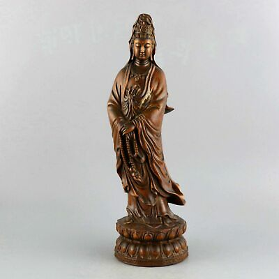 Collectable Handwork Antique Boxwood Carved Bring Luck Guan Yin Buddhism Statue
