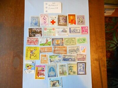 30 used postage stamps from Republica Dominica