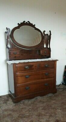 Antique Victorian Dressing Table Chest of Drawers. Dark wood probably mahogany