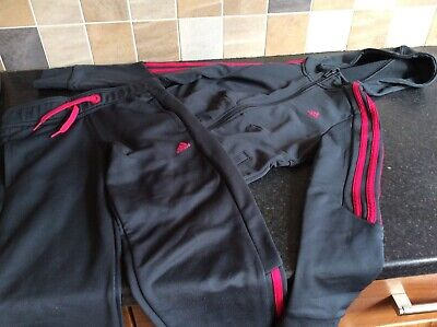 Girls Adidas jogging bottoms and top age 9-10 years track suit dark grey/ pink