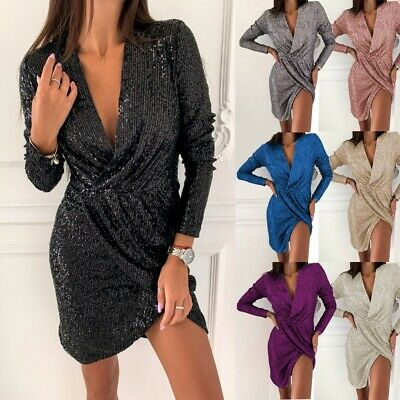 Women's Sexy V-neck Long Sleeve Evening Gown Short Dresses Ladies Fashion Dress