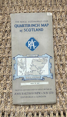Collectible RAC Bartholomews Quarter-inch Map Of Scotland Sheet 12