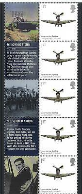Great Britain 2010 Spitfire Strip Of 5 With Labels Unmounted Mint, Mnh