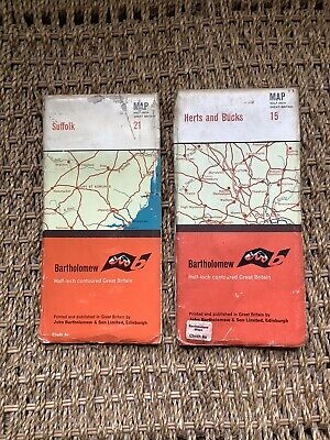2 Collectible Bartholomews Half-Inch Great Britain Maps, Sheets 15 + 21