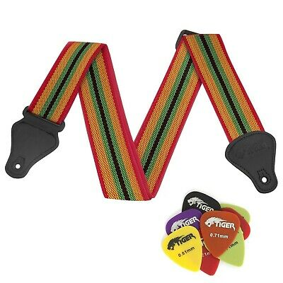 Tiger Reggae Nylon Guitar Strap with Pack of 12 Free Picks With Extra Plectrums