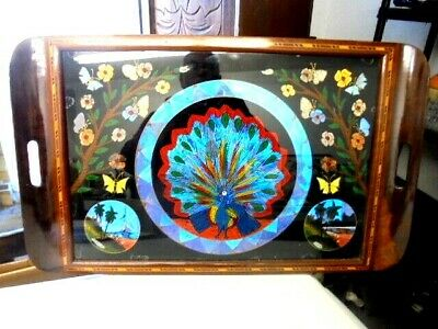 Antique South American Butterfly Wing Inlayed Tray From House Clearance