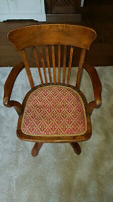 Rare Antique Captains Windsor Swivel Chair with tapestry covering