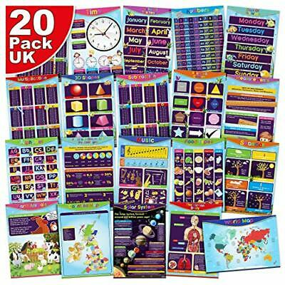 20 Pack of English Homeschooling Educational Resource Posters – Perfect for