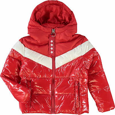 New INVICTA Premium Padded Winter Down Hooded Shine Puffer Jacket Coat Red 12yrs