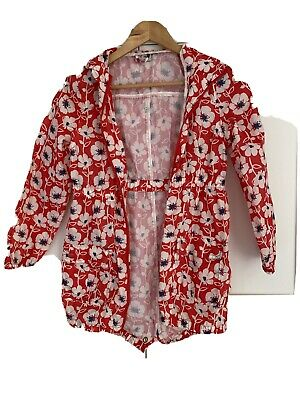 Next Girls Lightweight Fold Up Showerproof Rain Coat Red Poppies Age 9 10 Years