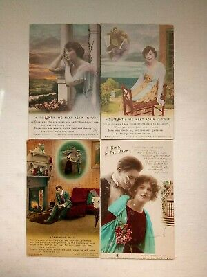 Postcards 4 Bamforth Song cards Starshine Kiss in the Dark Until we meet again