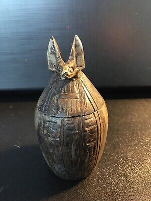 Ancient Egyptian Jackal Canopic Jar - Anubis Burial Urn God of the Dead