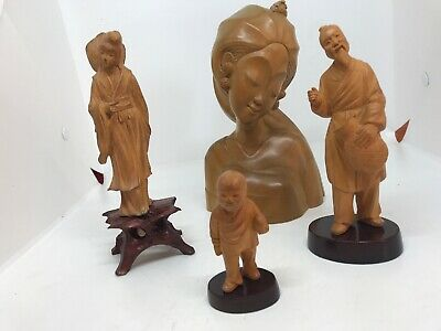 3 Chinese Hand Carved Box Wood Figure S & 1 Indonesian Lady Bust