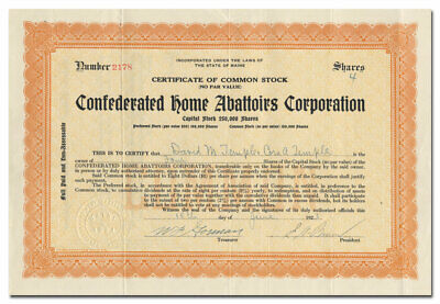 Confederated Home Abattoirs Corp Stock Certificate (Portland ME Slaughterhouse)
