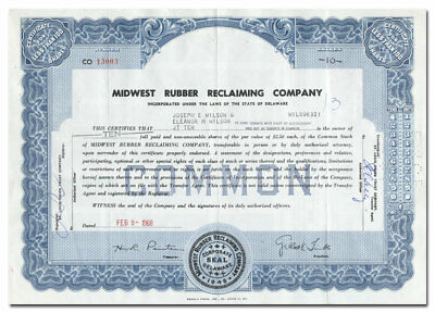 Midwest Rubber Reclaiming Company Stock Certificate