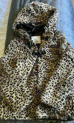 Girls Animal Print Faux Fur Fully Lined Hooded Coat Age 8 - 9 Years