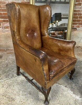 Antique English Leather Wingback Chair