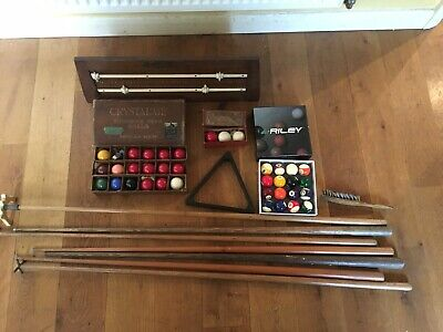 Small Snooker, Billiard and Pool balls and Cues etc