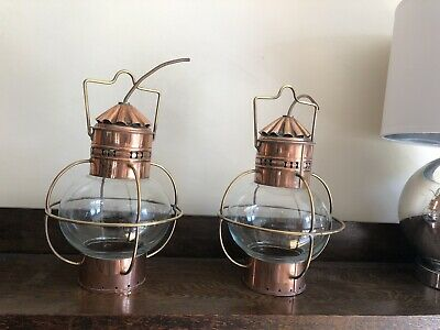 Vintage PAIR Copper & brass Nautical Ships Hanging Onion Shaped Lamps Lanterns